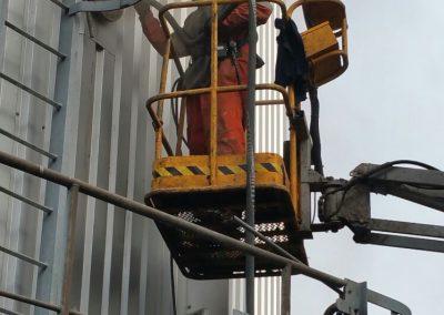 Mobiel stralen op locatie van een silo
