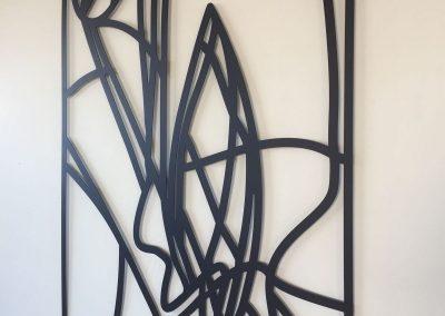 Poedercoaten kunstwerk kunstenares Petra Hart verzorgd door Strabeko
